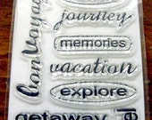 SALE 30% 9 - Scrappy Cat Travel Phrase Words Unmounted Acrylic Stamp Set