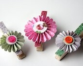 CUSTOM ORDER - 14 Rosette Clothes Pin Magnets for Photos, Banners, and Office Boards