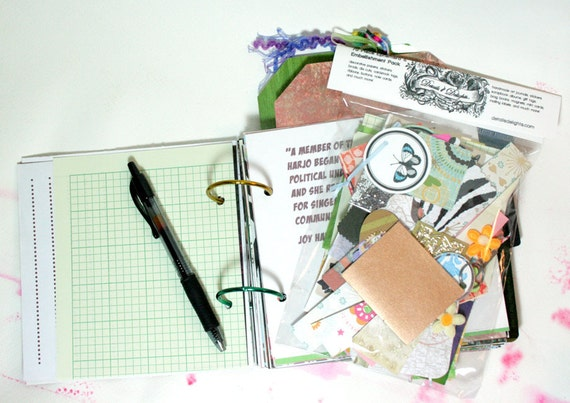 Inspired Living 6x6 Recycled Art Journal Plus Scrap Kit - 140 Pages - 2 5x7 Photo Journal Tags