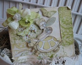 shabby chic whimsical fairy turtle ENJOY THE RIDE stitched handmade card