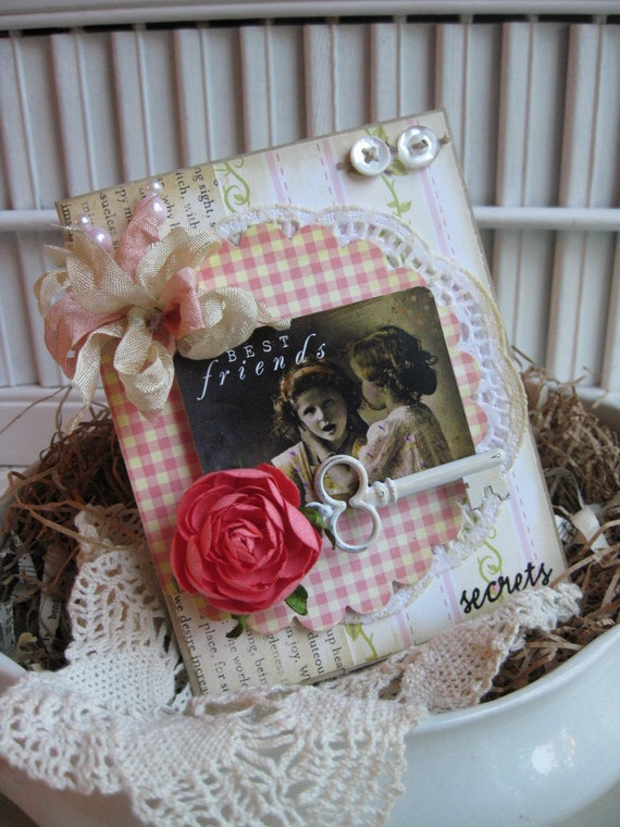 shabby chic little girls KEY BESTFRIENDS secrets handmade card