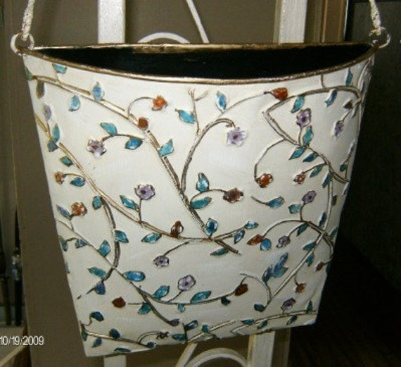 A TISKET A TASKET  A Shabby Chic Basket  Large  Metal Embossed Wall Pocket