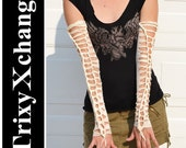 TRIXY XCHANGE - Open Laced White Arm Warmers Fingerless Gloves - Upcycled Recycled Reconstructed Ripped Womens Burning Man Costume Burner