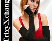 TRIXY XCHANGE - Brown Ribbed Extra Long Arm Warmers Fingerless Gloves Covers Plus Size Burlesque Yoga Bellydance Burning Man