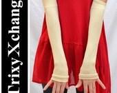 TRIXY XCHANGE - Soft Cream White Herringbone Arm Warmers Herringbone Gloves Fingerless Gloves Covers Leg Warmers Leg Covers Sawtooth