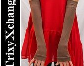 TRIXY XCHANGE - Soft Brown Silky Arm Warmers Fingerless Gloves Covers