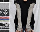 TRIXY XCHANGE - Knit Grey Bellydance Yoga Leg Warmers Leggings Burning Man Clothing Costume Long Arm Warmers Fingerless Gloves Tattoo Covers