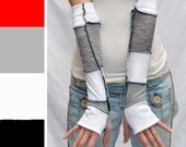 Long Gray Patch Gloves White Fingerless Gloves Cotton Arm Warmers Upcycled Recycled Sweater Armwarmers Legwarmers Leg Warmers