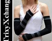 TRIXY XCHANGE - Extra Long Arm Warmers Striped Arm Warmers Warm Arm Warmers Grey Striped Arm Warmers Extra Long Black Arm Warmers Thumb Hole