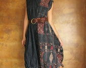 Tulip dress...Naga hand woven thick cotton (one size)