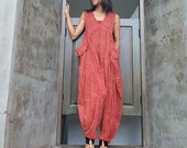 Colorful India... Epiphany...Jumpsuit Red Indian flower print (S-L)
