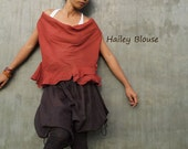 Hailey Blouse...Mixed silk earth red (M,L,XL)(1180)