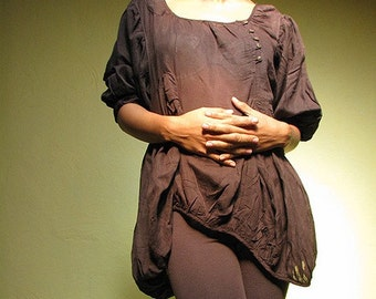 Bellarina Blouse...Brown mixed silk (2 sizes M-L, L-XL)