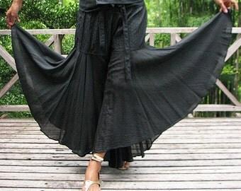 Enchanted pants...Black mix silk M,L