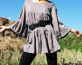 30 USD Sale The woman in me blouse...Gray mix silk (L-XL)