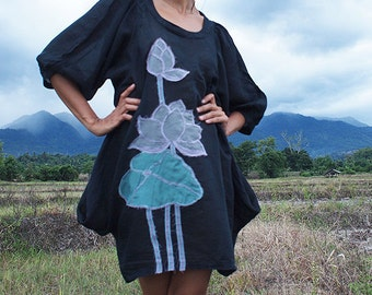 Artistic.. Lotus dress Black mix silk (S-L) (1405)