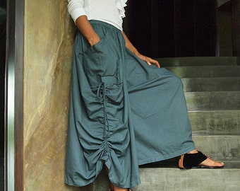 Helen Skirt/ Pants...Smoke Gray Cotton convertible (S-XL) 420B