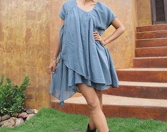Shine tunic/ Dress...Mix silk Blue/Gray (one size fits M-XL)