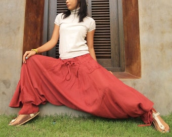For a change pants...Plus Size .. Rose Red  mix silk  (shirring smock) M,L,XL  [ P 266]