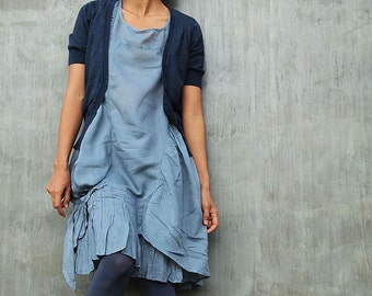 Breeze Dress...Blue/Gray mixed silk (one size fits M-L)(372)