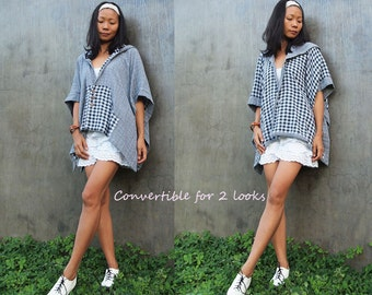 Being here...Checkered print convertible poncho (one size fit all)