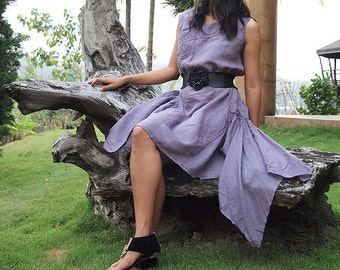 Swirl asymmetric dress....Lavender in cotton mixed silk (one size)