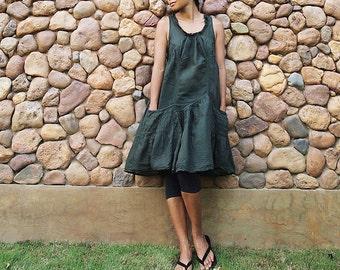 Alexis dress...Dark Green mix silk (05) S-L