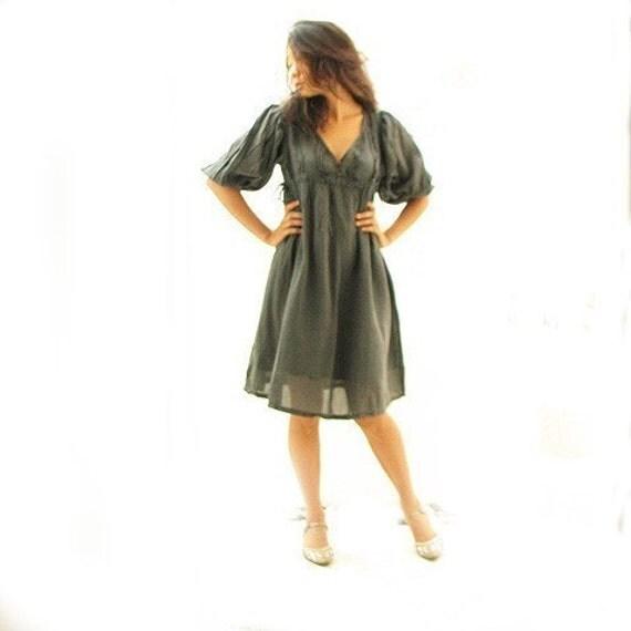 Joy dress...Smoke gray mix silk (XL)