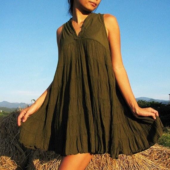 Woman in me sleeveless dress...Dark Green(S-L)