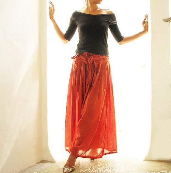 Wild side pants...Earth red mix silk (S-L)