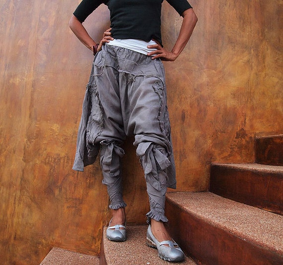 Swirl Funky harem pants Cotton mixed with silk (3 sizes M,L,XL)(1128)