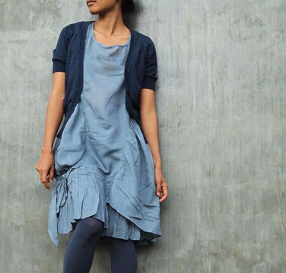 Breeze Dress...Blue/Gray mixed silk (one size fits M-L)(372)
