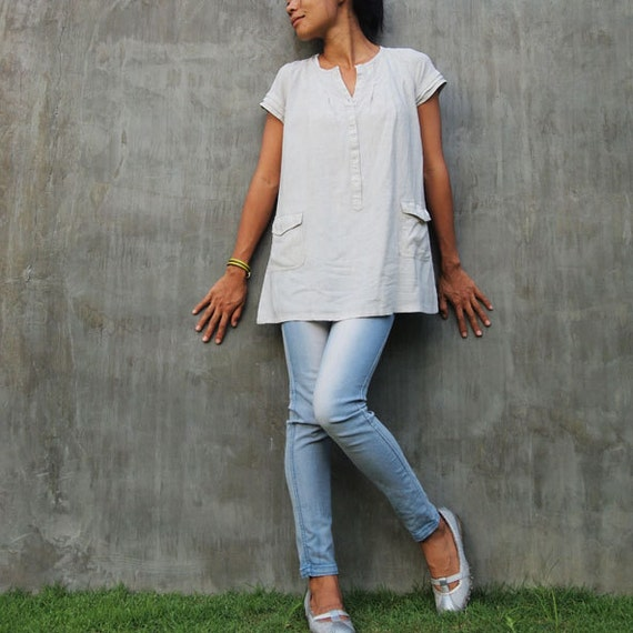 Journey tunic...natural Linen cream  (fits S-M)
