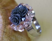 Satin Black Roses, Handcrafted ring with weaving beads, adjustable