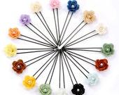 Miniature Roses Hair Pin Handmade Beaded Jewelry, 16 pieces