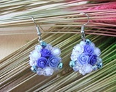 Miniature Roses in Blue Polymer Clay Beads Jewelry