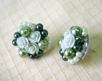 Miniature Polymer Clay Rose, handcrafted beaded earring