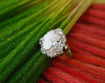 Handcrafted rose ring, select one from the list