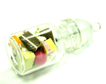 Miniature Polymer Clay Bakery in Glass Bottle Charm