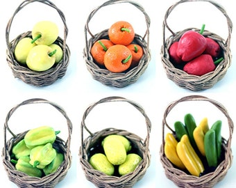 Miniature Polymer Clay Food, Fruit basket - set of 6 baskets