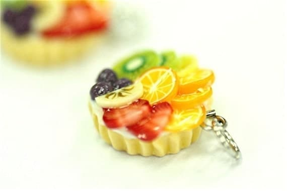 Miniature Foods Charm, Beaded Jewelry Handmade Gifts 2 pcs