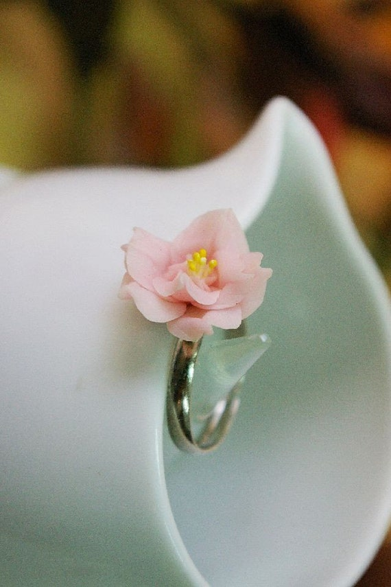 Miniature Polymer Clay Jewelry, Sophisticate Handcrafted Rose Ring, select one from the list