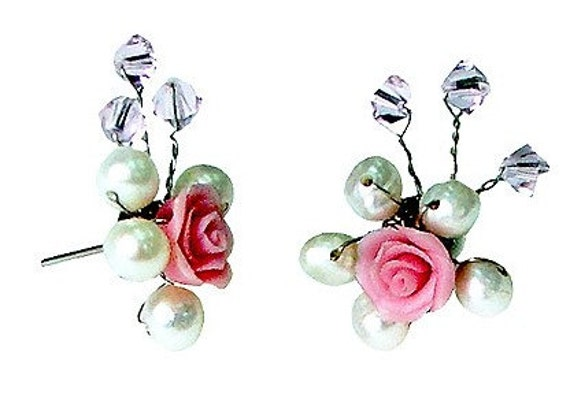 Miniature Handmade Roses Polymer Clay Beads Jewelry Earring