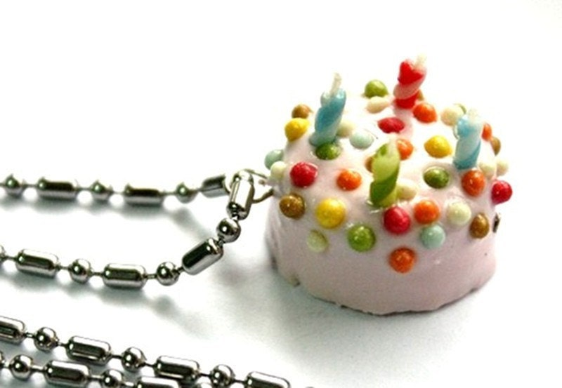 happy birthday necklace miniature polymer clay food jewelry 1
