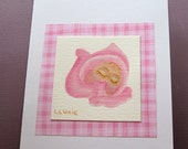 Hand Painted Notecard - Sleeping Baby Girl - for shower, baby gift, birth announcement