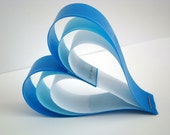 Hanging Paper Hearts - Shades of Blue - Set of 5