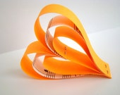 Hanging Paper Hearts - Orange with Music Sheet Accents- Set of 5