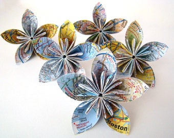 Five Petal Kusudama Flower - Recycled Map - Set of 5