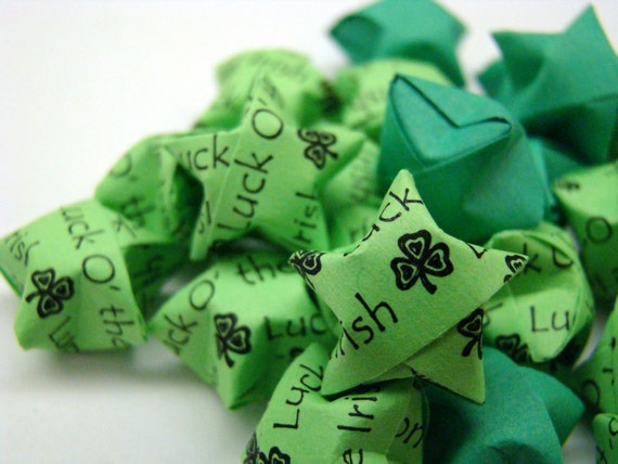 100 Origami Lucky Stars - Luck O' The Irish (Lime/Dark Green)