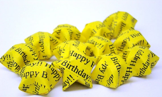 100 Origami Lucky Stars - Happy Birthday - You Pick the Color(s)
